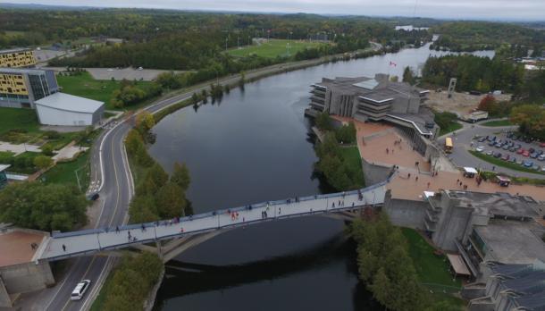 Aerial photo of Faryon Bridge over the Otonabee River