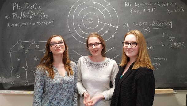 Three girls standing in front of a black board smiling, with physics formulas and diagrams written on the blackboard behind them.