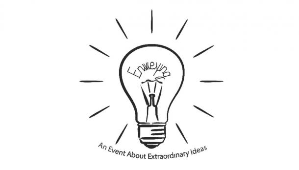 Lightbulb with An event about extraordinary ideas tagline