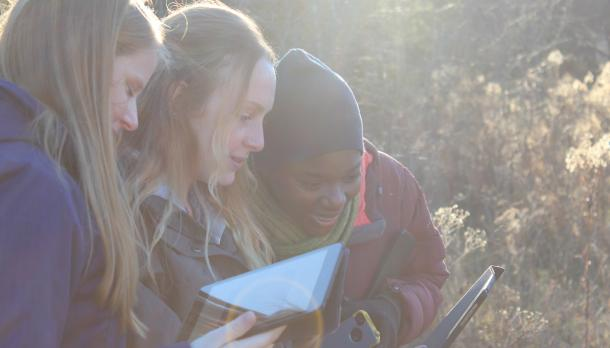 3 bachelor of education students standing together outdoor sharing ideas while looking at a tablet on a cold afternoon