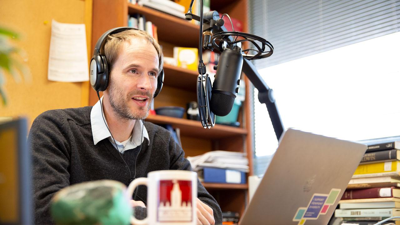 Dr. Christopher Dummitt, Trent University History professor recording his podcast, 1867 and All That