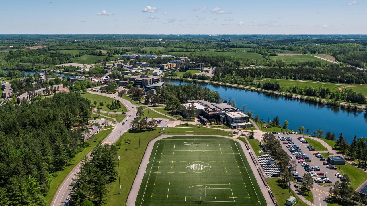 Aerial view of Trent's Peterborough campus.