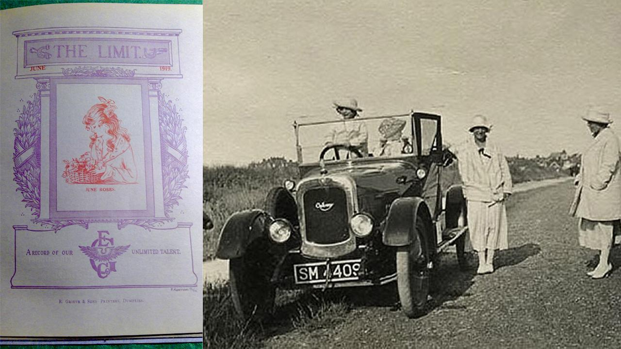 "Left: The cover of one of the factory journals, ""The Limit,"" a name that reflected the view that women engineers were beyond ""the limit"" of what was acceptable by an emerging patriarchal society after World War I.  Right: The Galloway, a car built in 1918-1919 for women by a factory of women engineers, and labourers in Kirkcudbright, Scotland."