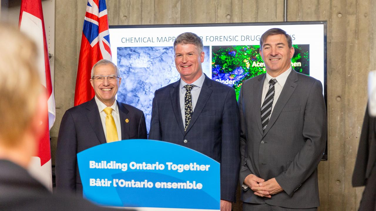 Ontario's Minister of Economic Development, Job Creation and Trade Vic Fedeli, Dr. Neil Emery - vice president of Research & Innovation at Trent, Dave Smith - MPP Peterborough - Kawartha