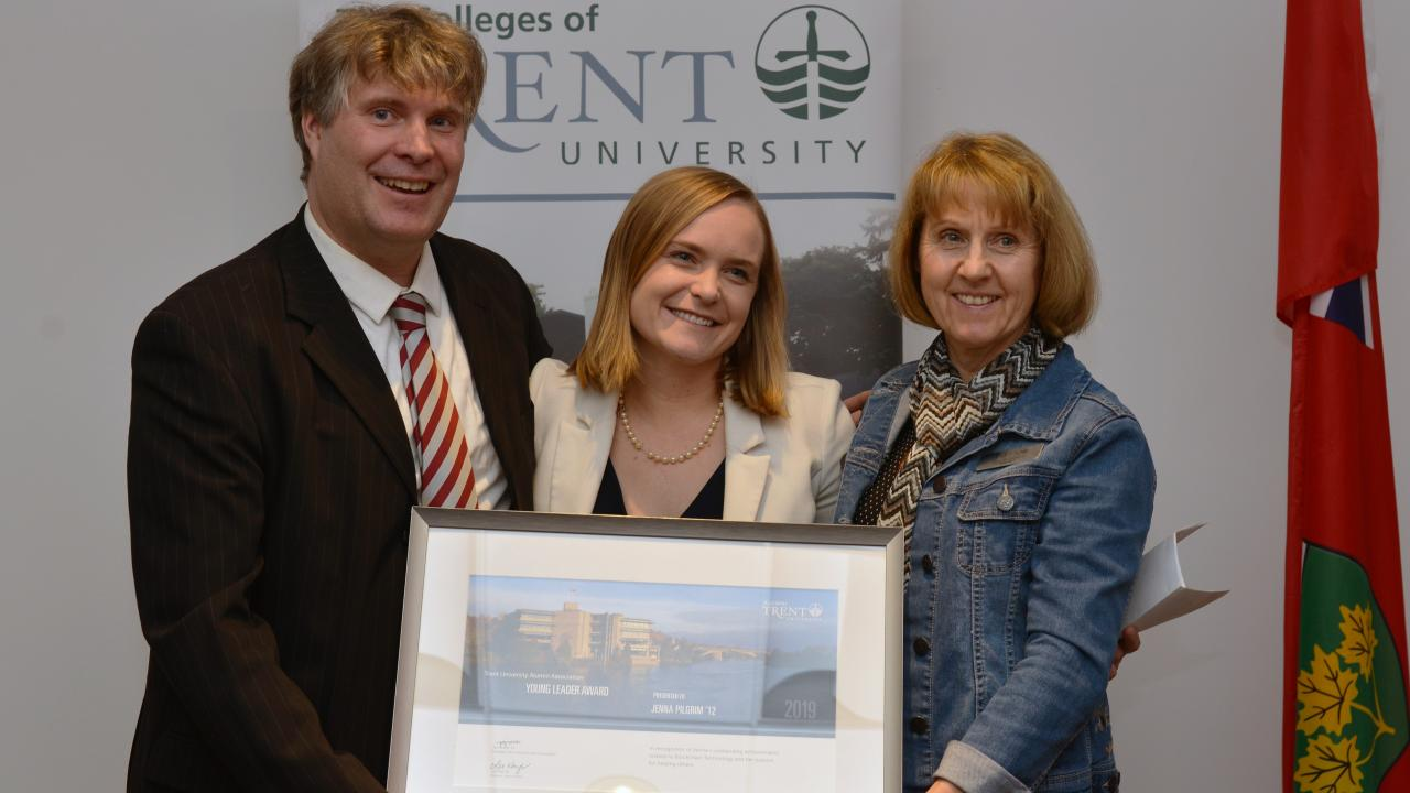 Jenna Pilgrim '12 presented with the Young Alumni Leader Award at a special ceremony at Traill College