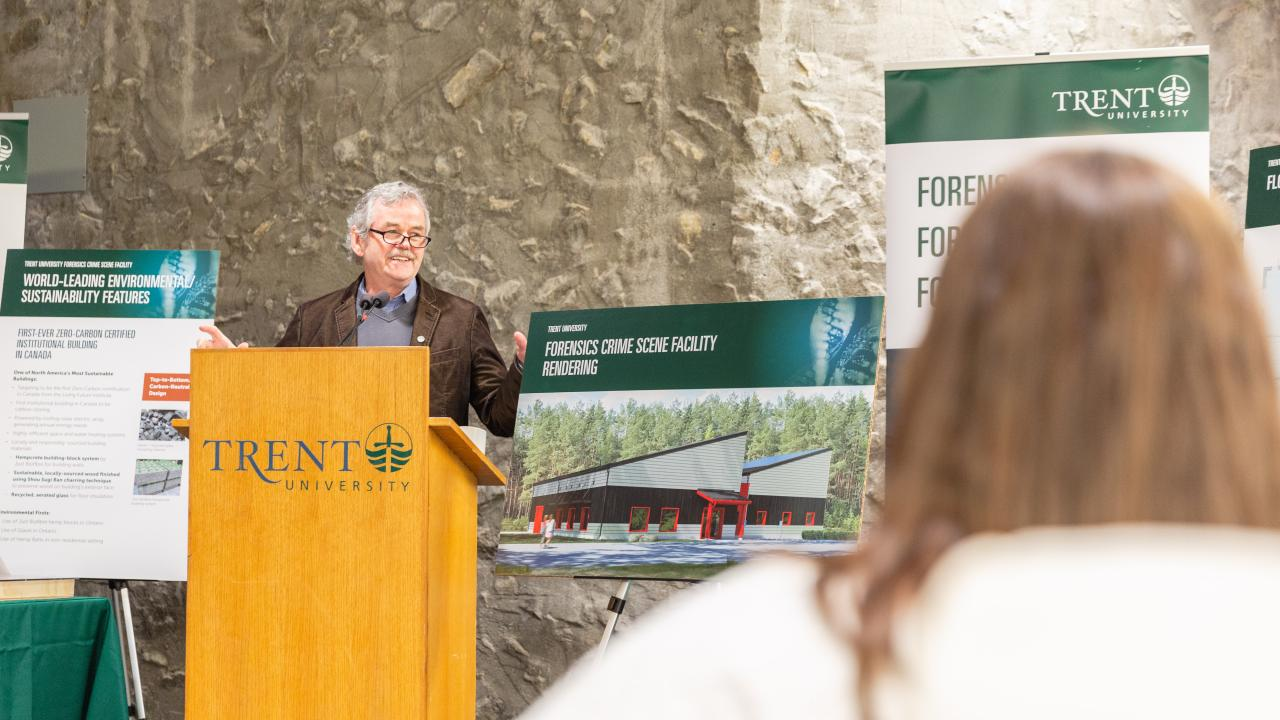 Trent University President Leo Groarke announces the new Forensics Crime Scene Facility.