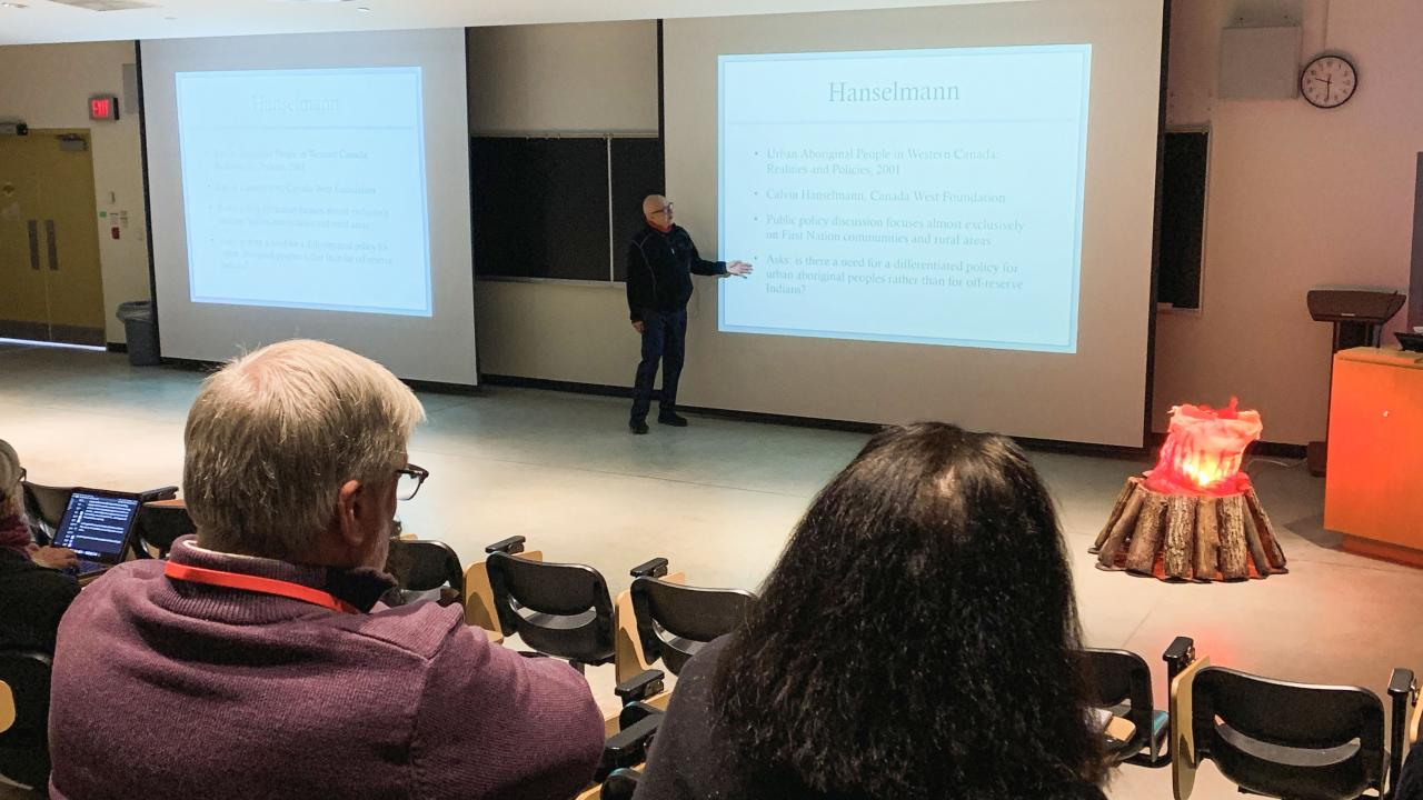 Dr. David Newhouse during a keynote at the Annual Canadian Indigenous/Native Studies Association (CINSA) Conference