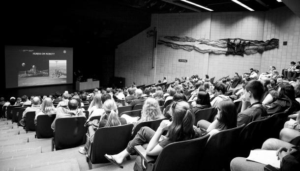 Students listening to lecture about Human or Robots at the Wenjack Theatre