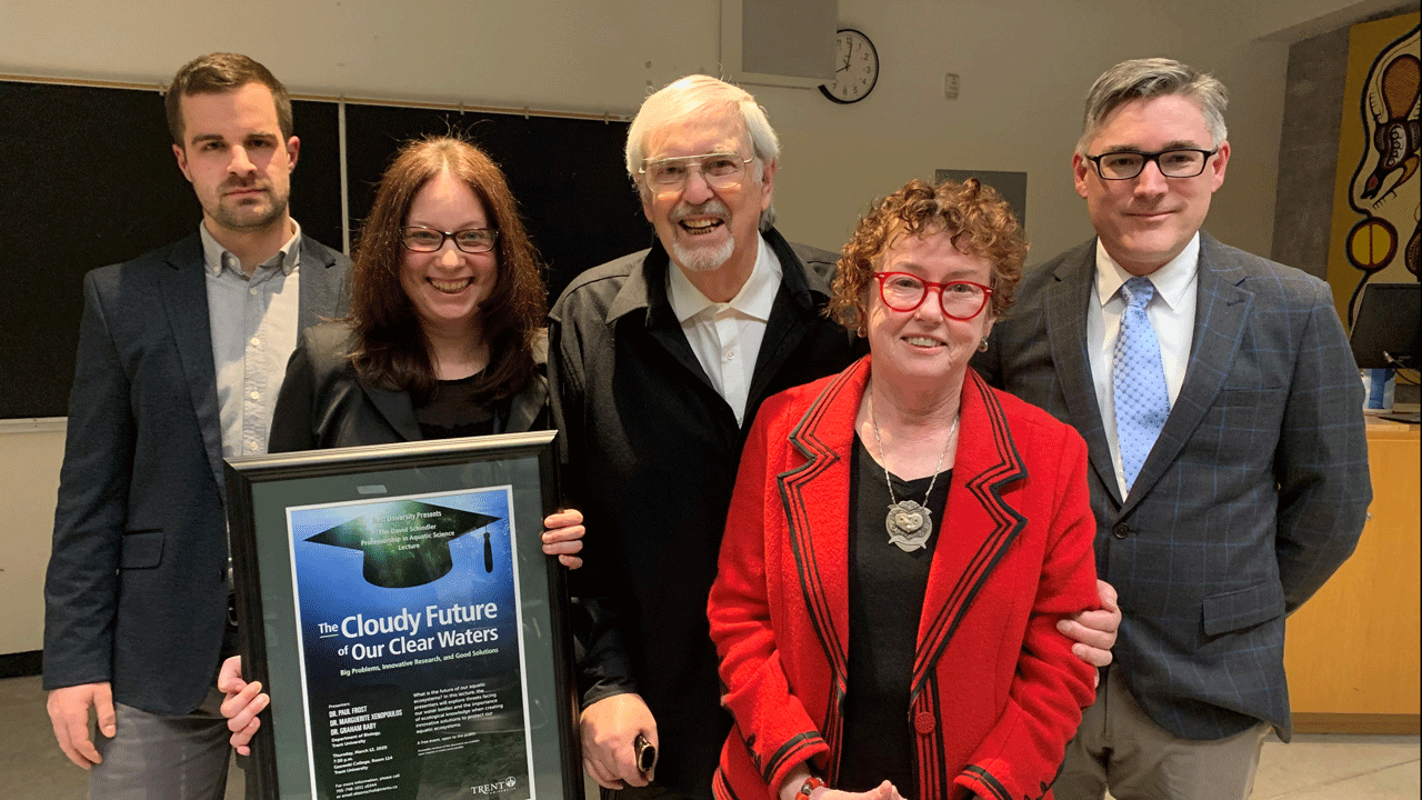 From left to right: Dr. Graham Raby, Dr. Maggie Xenopoulos, Mr. Ralph Ingleton, Ms. Carol Ingleton, and Dr. Paul Frost. Mr. and Ms. Ingleton are the first donors to the new endowment supporting the Trent Aquatic Research Program, announced at the lecture.