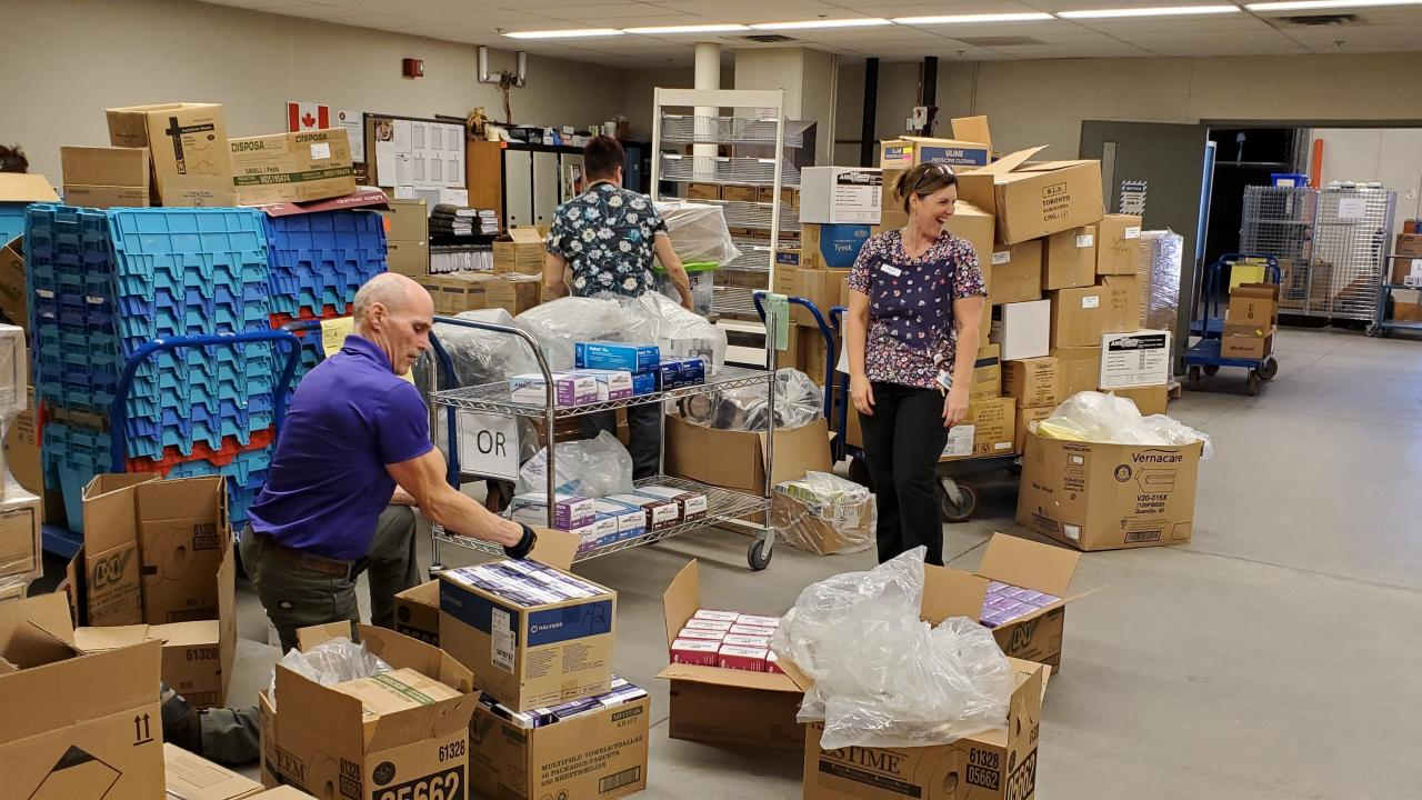 Trent University makes a donation of personal protective equipment (PPE) and clothing for frontline healthcare workers at Peterborough Regional Health Centre (PRHC).
