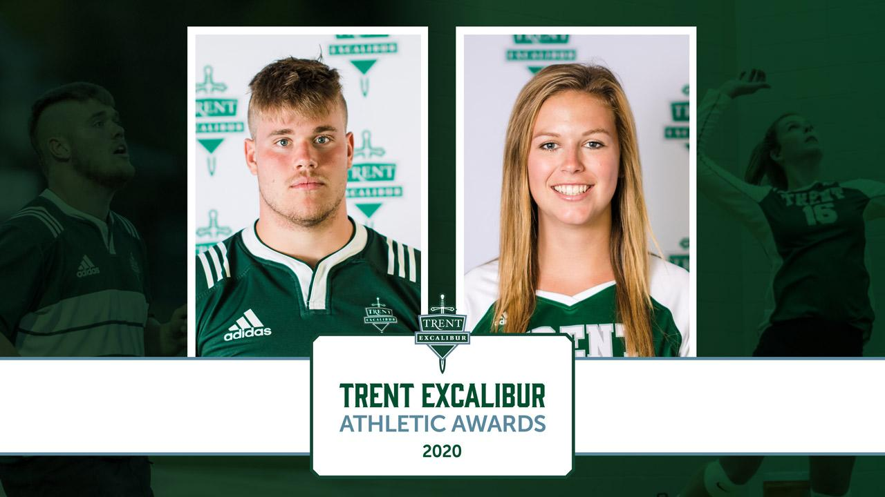 Trent Excalibur Athletic Awards 2020. Left to Right: Emerson Prior (Men's Rugby) and Jill Barr (Women's Volleyball)