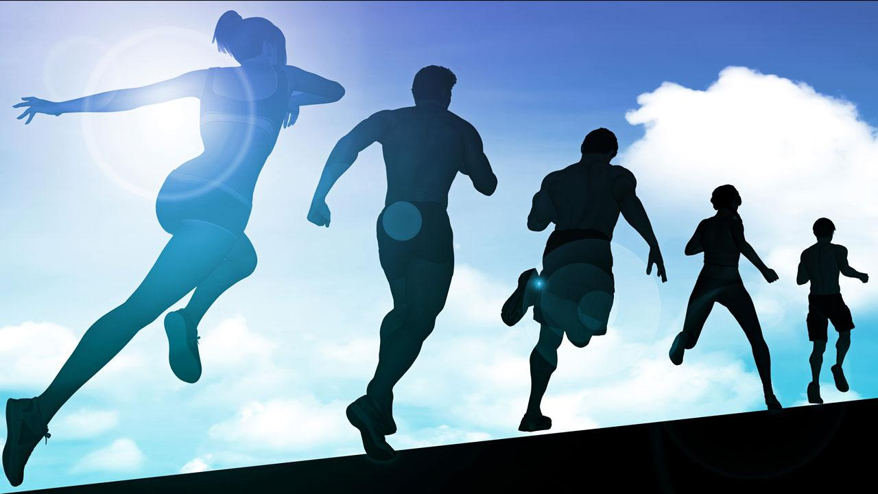 Silhouettes of people running.