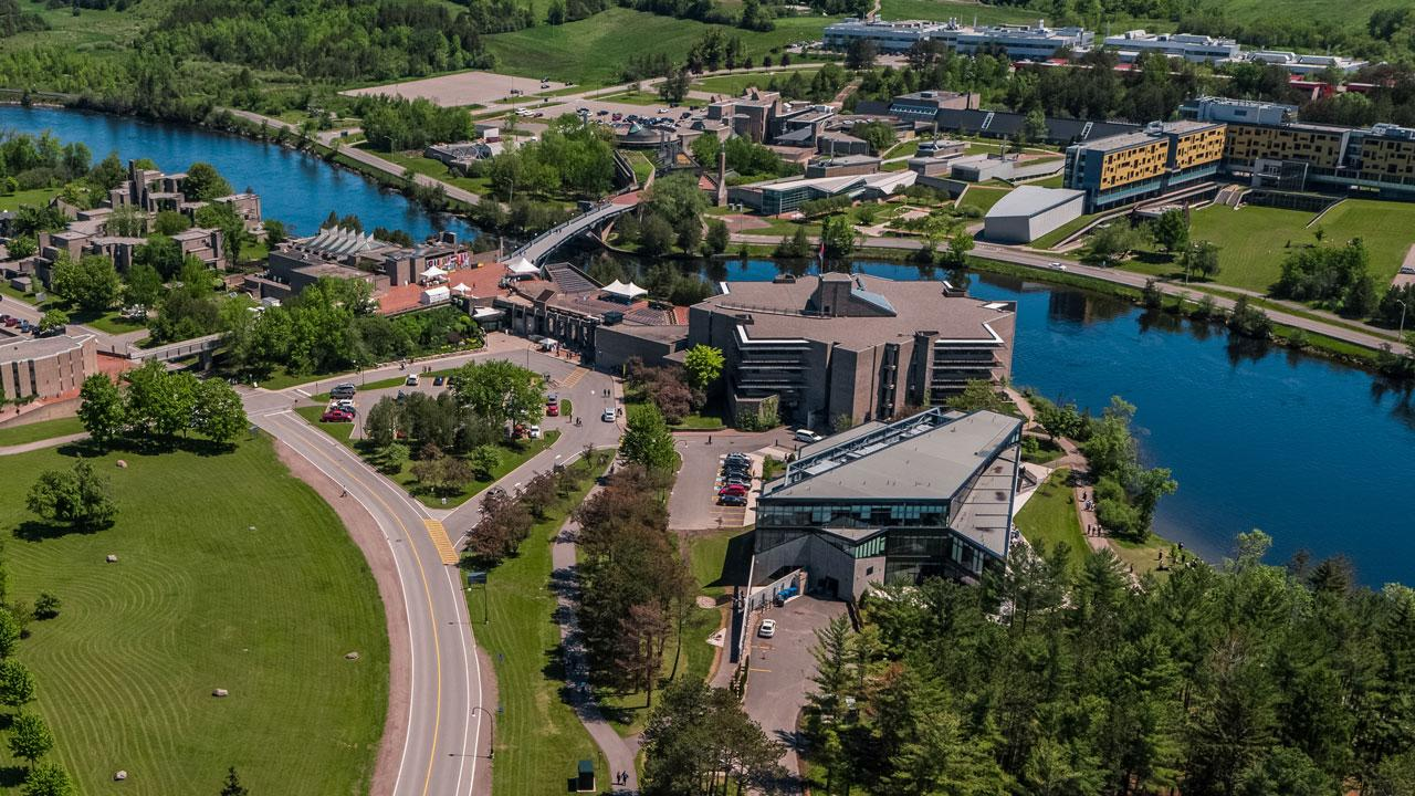 Aerial view of Trent University Symons Campus.