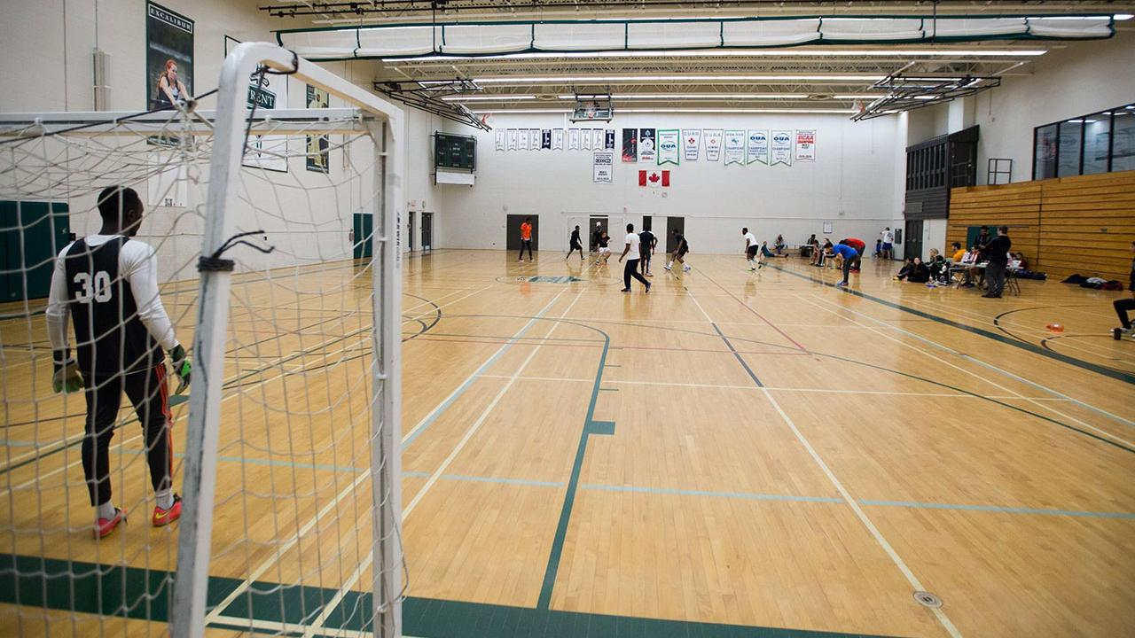 A match going on in the athletic centre