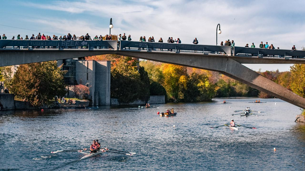 Spectators watching races from the Faryon Bridge at the 2019 Head of the Trent Regatta.