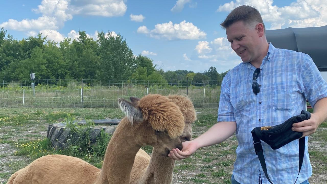 Jason Allen, Manager of Animal Care with alpacas.