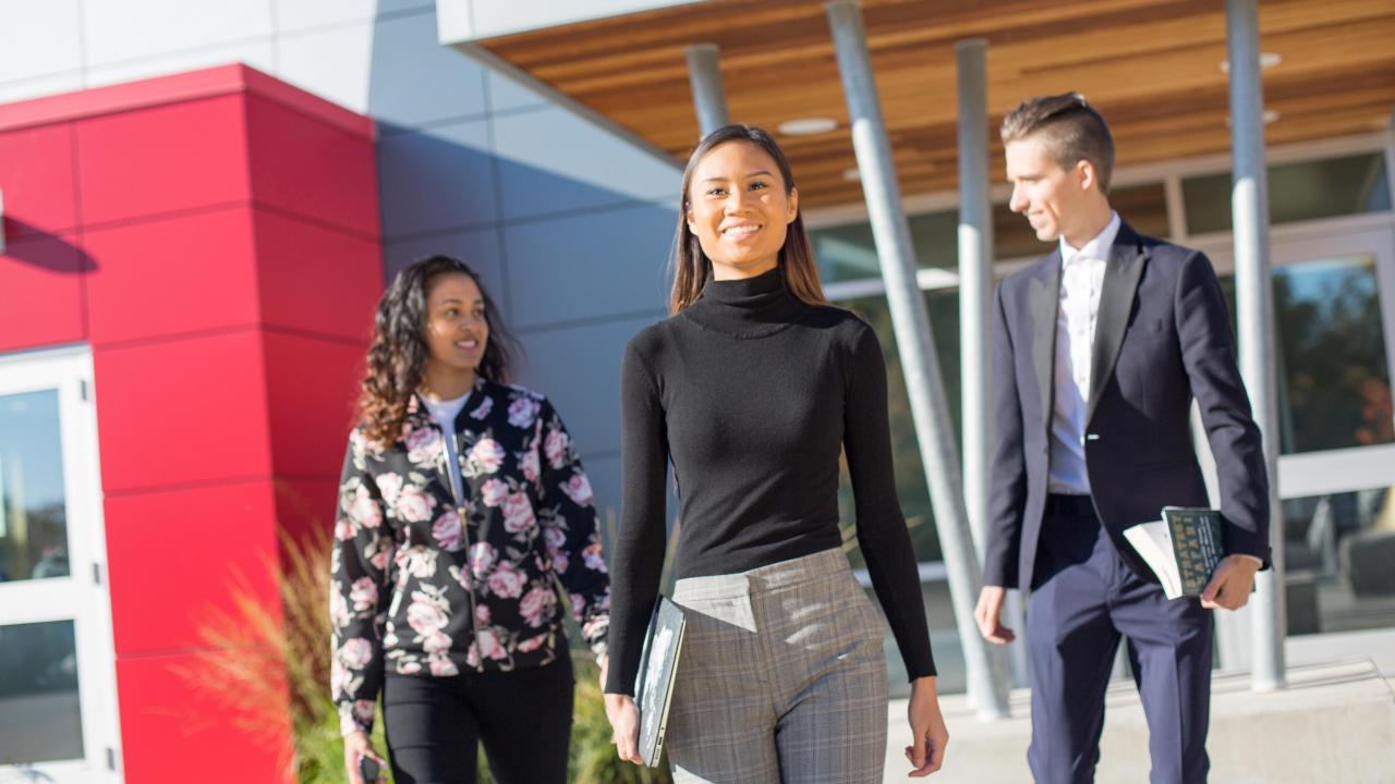Students walking on campus at Trent University Durham GTA