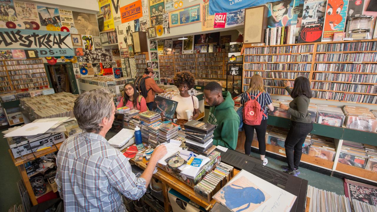 Trent students shopping at a local record store.