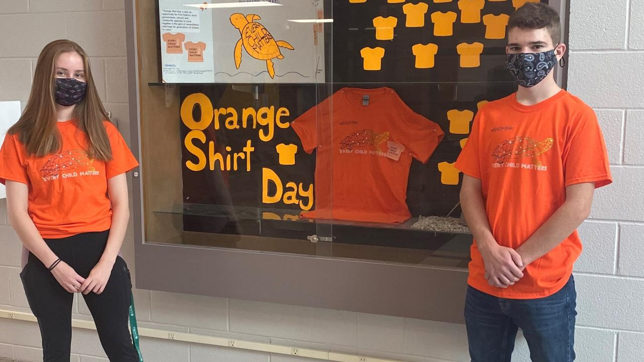 FPHL students with Orange Shirt Day display