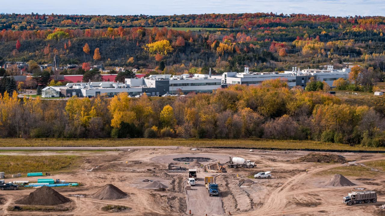 Aerial view of the Cleantech Commons construction site