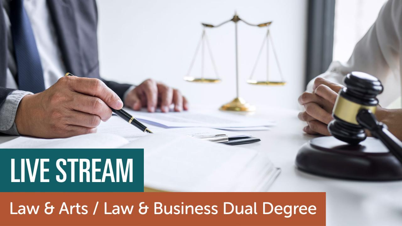 Live Stream. Law & Arts / Law & Business Dual Degree