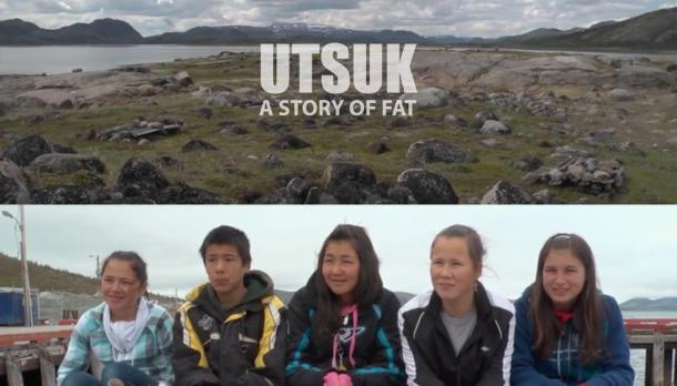 half of images shows 5 kids sitting next to a shore smiling to camera while they are cold, the other hald is a landscape of UTSUK viewing the shore and the mountains