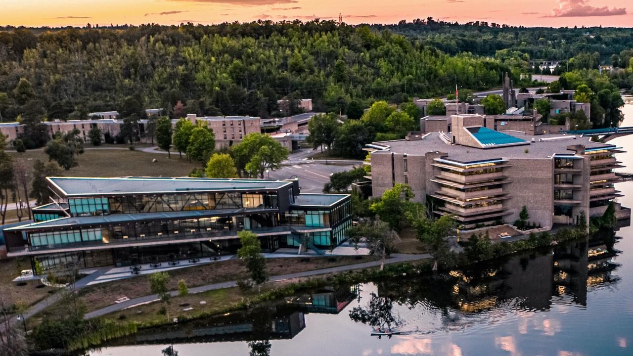 Aerial view of Trent University campus