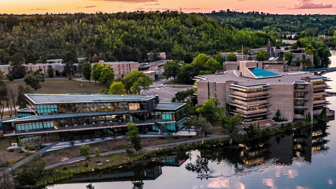 Aerial view of Trent University campus