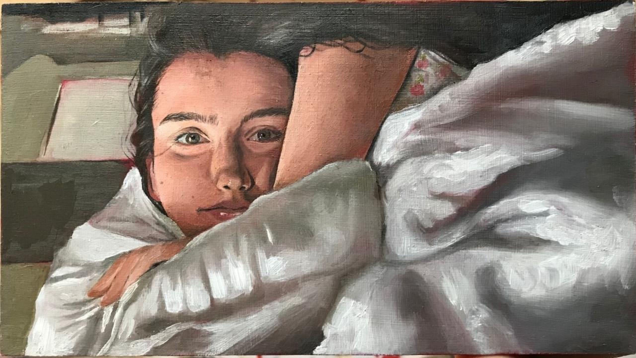 "Trent student Lindsay Olivieri's first major project ""Go Home and Stay Home"" (oil paint on a 9""x5"" wood panel)"