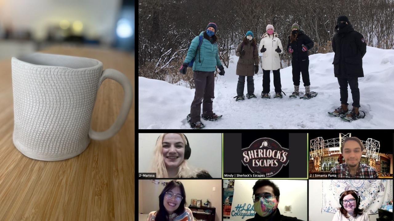 A collage of activities from Winter College Weekend, including pottery, snowshoeing, and a virtual escape room.