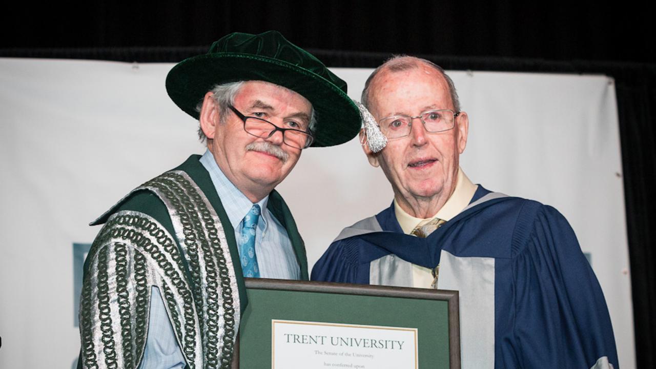 Trent University President Leo Groarke and Jerry Coughlan