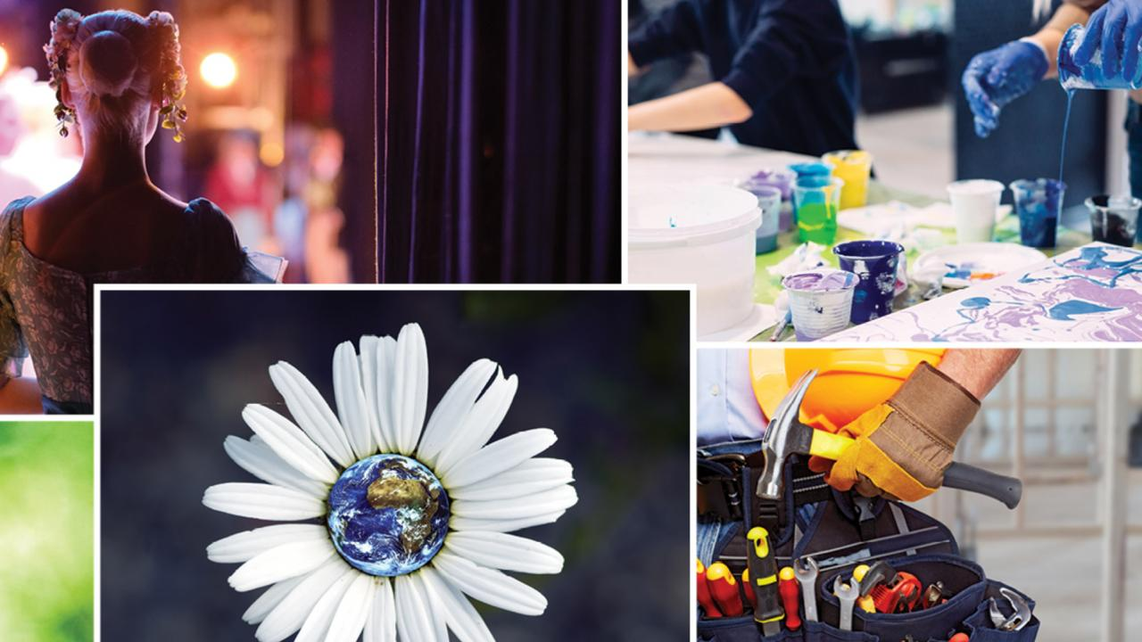 Collage of images representing playwriting, epoxy pour, painting and renovations
