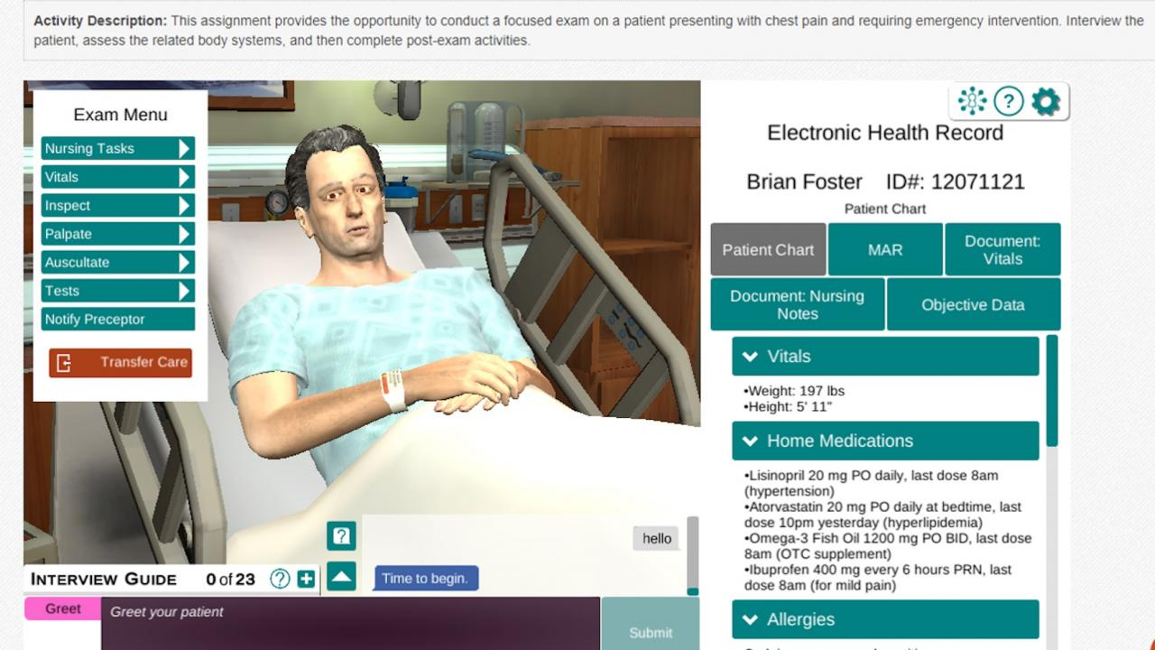 The virtual patient avatar used by Trent Fleming School of Nursing classes.