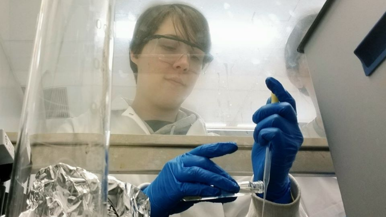 Corrie Hyland works in the lab