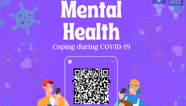 mental health and coping during covid. White text on purple background with two cartoon characters looking at phone. QR code in center of image.