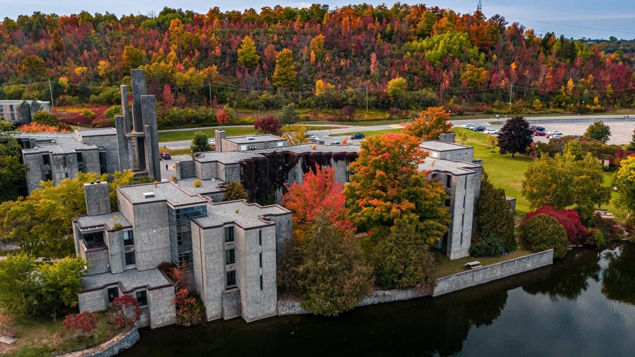 An aerial view of Trent University's campus.