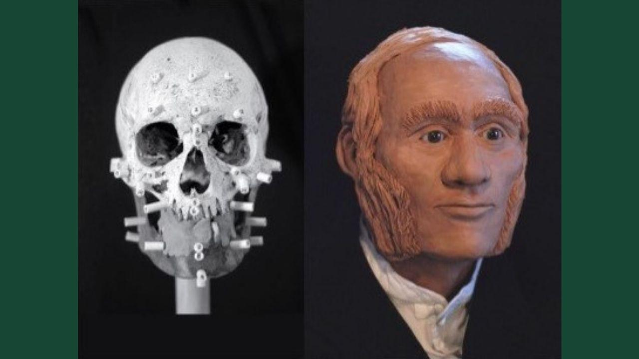 Facial reconstruction of individual identified through DNA analysis as John Gregory, HMS Erebus
