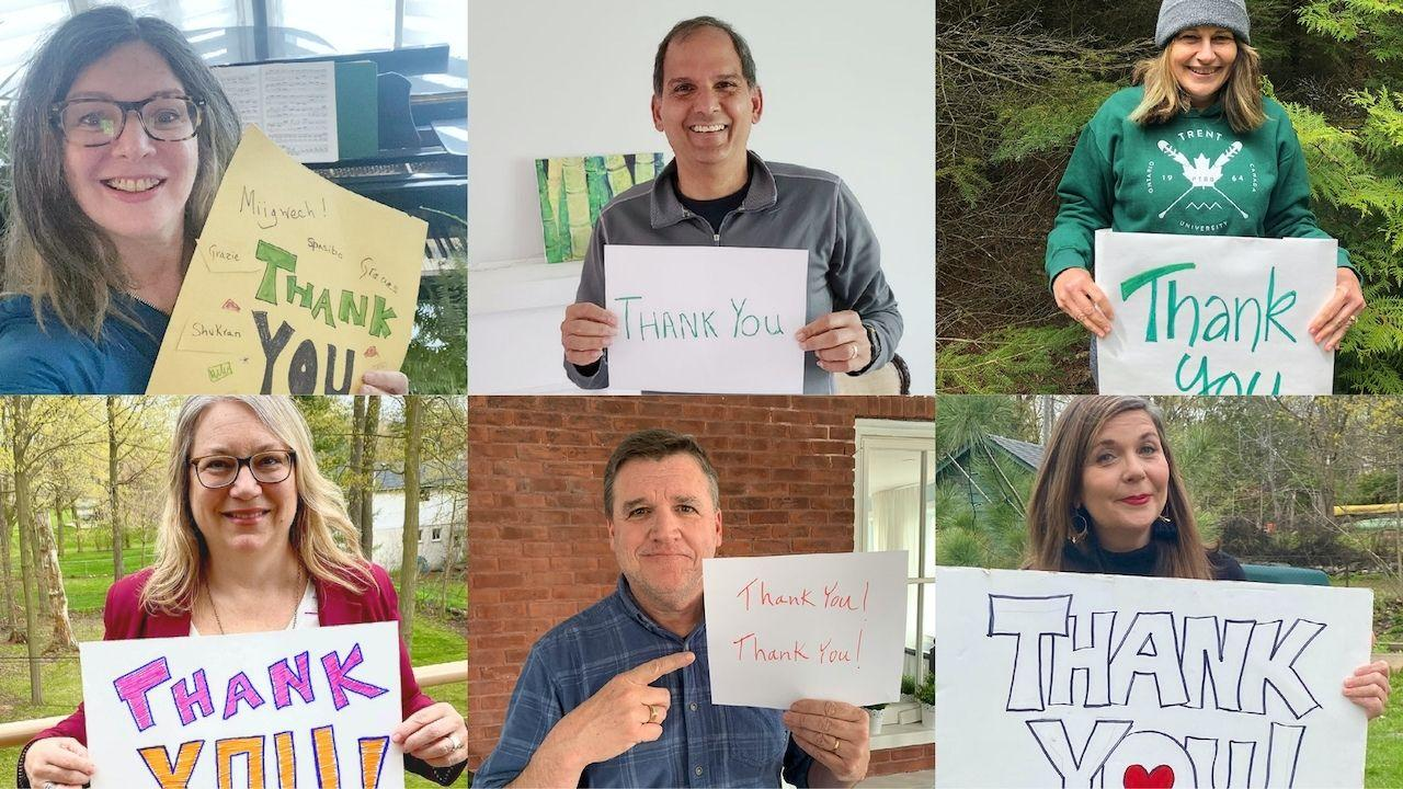 "A collage of Trent University VPs holding signs that say ""thank you"""