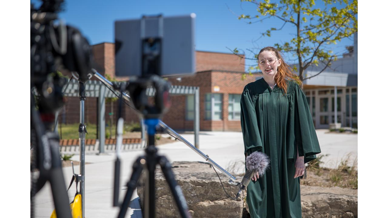 Trent Durham Student Association President, Rayna Porter at the Grad From Your Pad filming