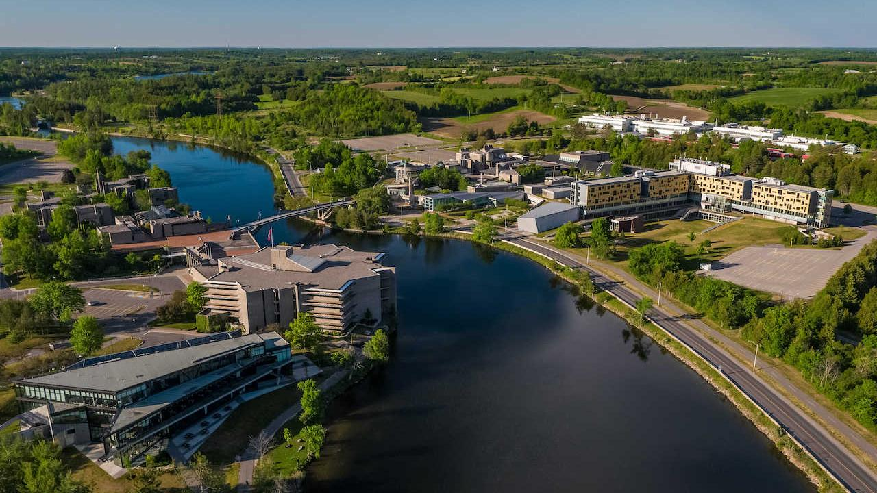 An aerial view of Trent University's Symons Campus