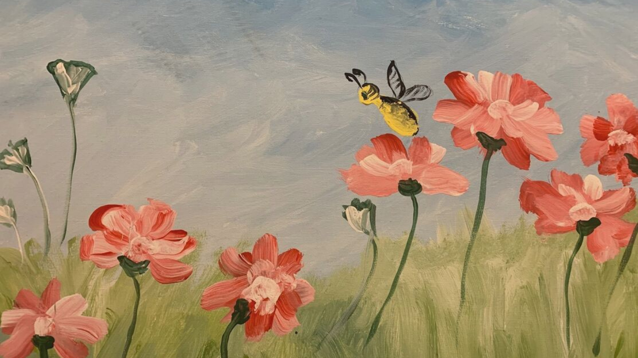 A painting of wildflowers