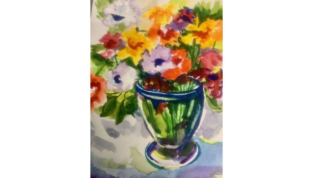 A painting of a vase