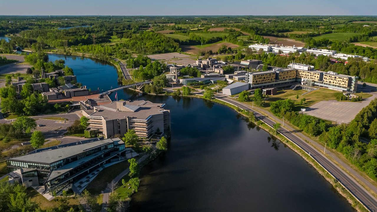 An aerial view of Trent University's campus