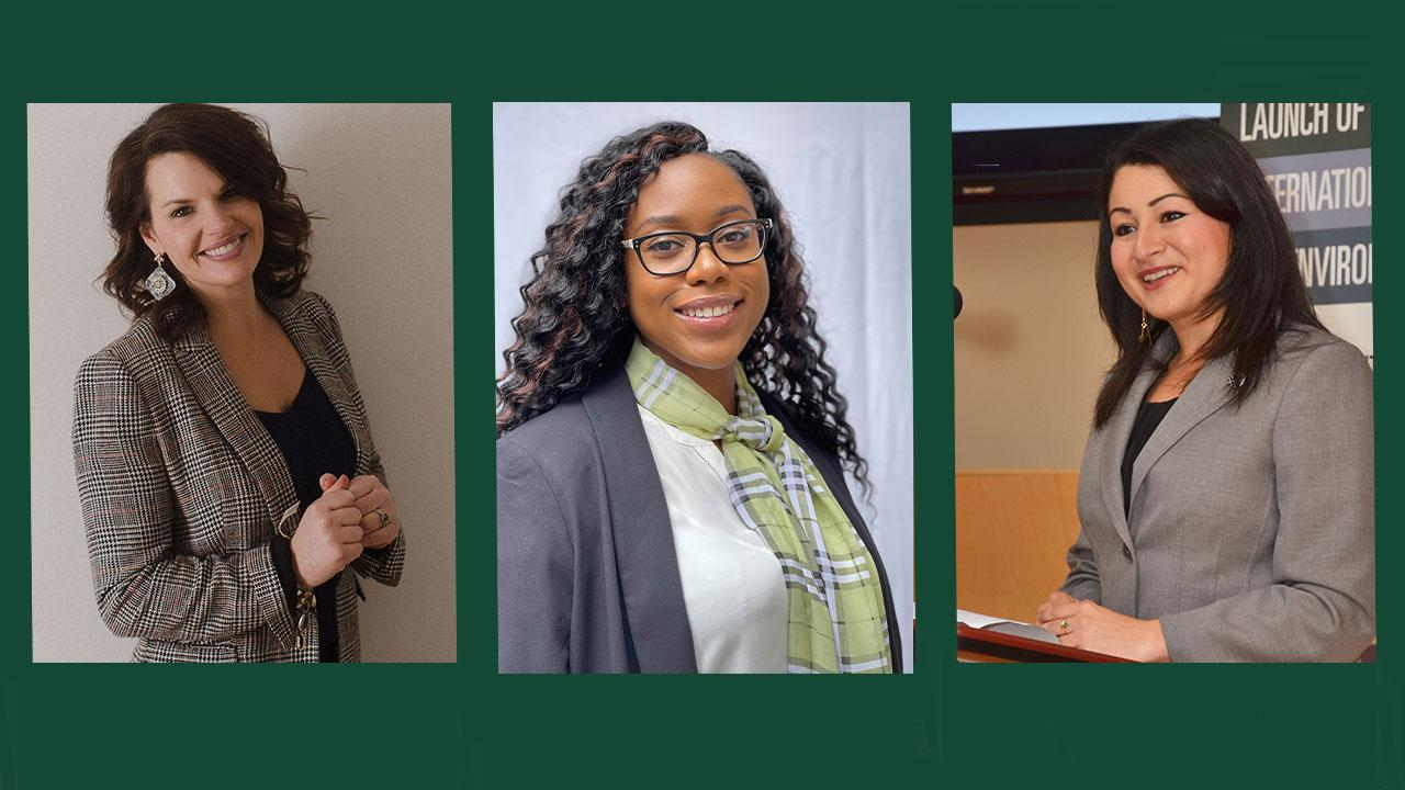 Conservative challenger Michelle Ferreri '97 and Green Party nominee Chanté White '12, Liberal MP Maryam Monsef '03