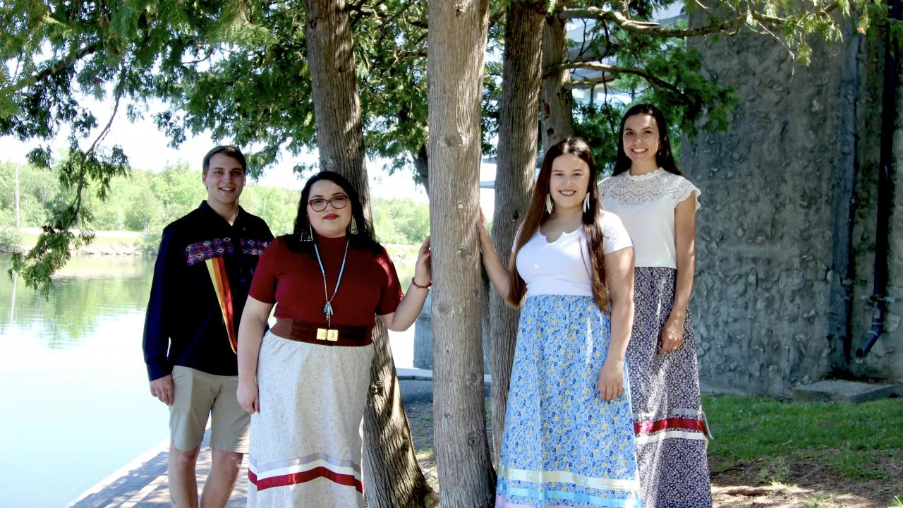 Holly Redden, Thomas Morningstar, Seanna Dale and Amber Brooks, seen here on the Trent University Symons Campus, are the first graduates of the Indigenous Bachelor of Education program