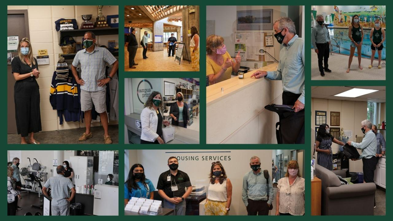 Collage of photos from senior leadership visit with returning employees