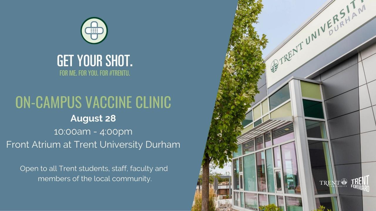On-Campus Vaccine Clonic - August 28 - Durham GTA Campus