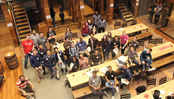 A group of Trent students at the Shopify Plus building in Waterloo.