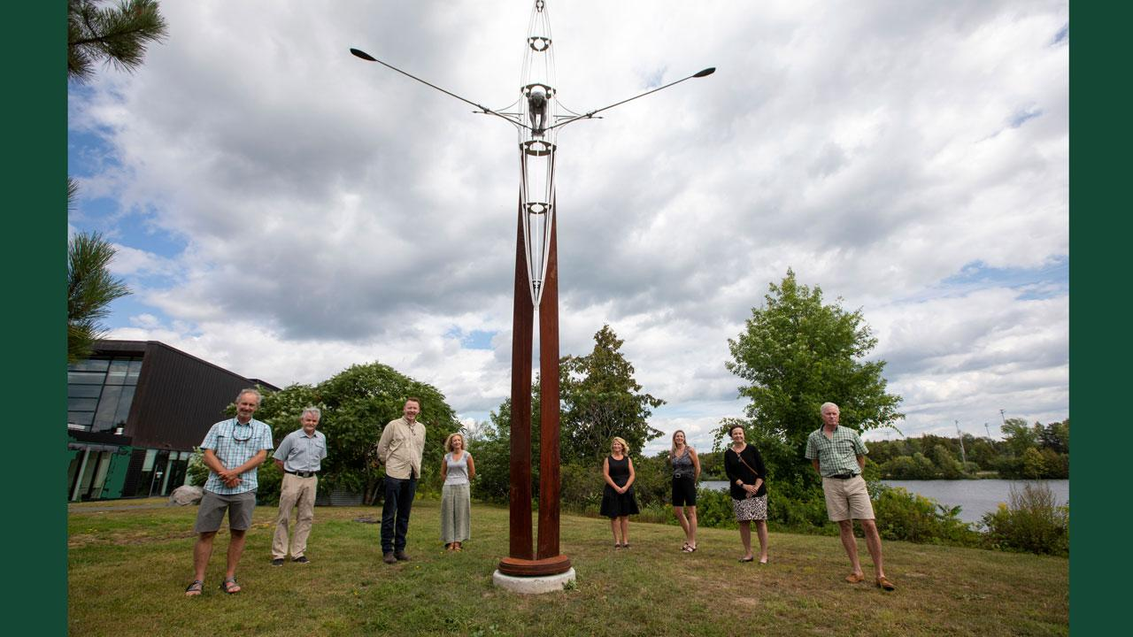 New sculpture at Trent University by esteemed Canadian artist David Robinson entitled 'Dead Reckoning.'