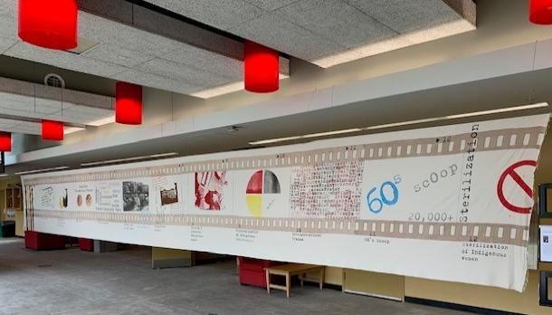 Artist's work on display in the Atrium, Level 1, Enwayaang Building